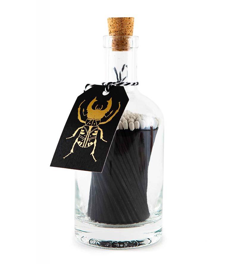 Black bug glass bottle