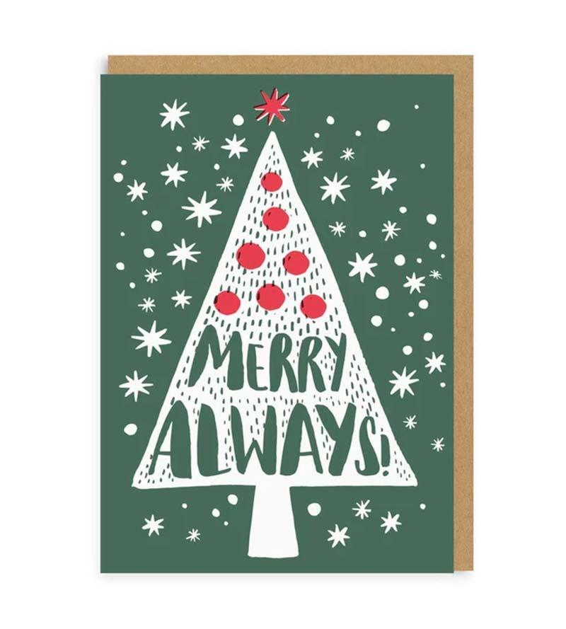 """Merry Always"" greeting card"