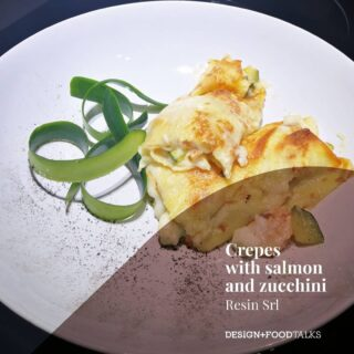 DESIGN + FOODTALKS⁠ with with Marco Terzi / @resin_srl Crepes with salmon and zucchini . Ingredients: . n.2 zucchini n.1 shallot n.1 slice of  fresh salmon  40 gr butter 250 gr. Crescenza cheese Salt  Pepper  ½ glass vodka n. 4 crepes 500 ml béchamel sause . Clean and cut the zucchini into small pieces. Fry them in a pan with half the butter and finely chopped shallot, seasoned with salt and pepper. Cook them until cooked but a leave them a bit al dente. . In another pan, put the remaining butter, diced salmon and cook for 3-4 minutes; adjust with salt and pepper and sip  with vodka and let it evaporate. . Add the salmon to the zucchini. Place the mixture on top of each crepe, add two tablespoons of béchamel sauce and a slice of crescenza. Roll up the creps and place them in a baking pan covered with baking paper, season with the remaining béchamel sauce and bake in a hot oven at 200 degrees for 20 minutes. . Place and garnish with a sprinkling of pepper and thin slices of raw zucchini that you can cut using the potato peeler. . #PalermoUno @resinsrl⁠ #designfoodtalks #SophieWannenes #architecture #art #modernism #interiordesign #designtalk #fooddesign #interiors #interview #designinterview #speak #inspiration #homedesigner #project @sophie_wannenes #designinspiration #designtrends #designcolors #furniture #resin #resina #floor #color #industrial #food #crepes #foodporn
